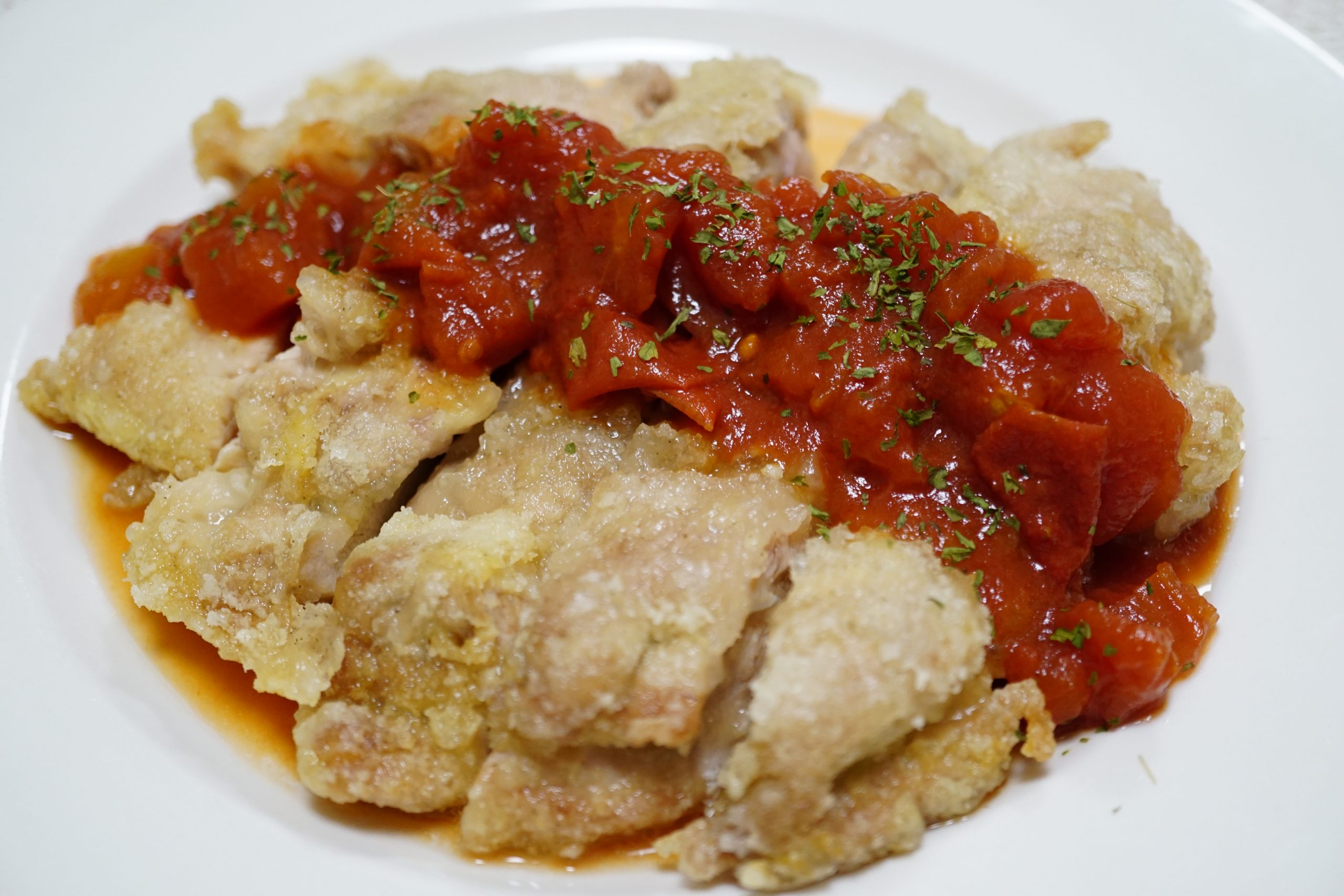 Crispy Chicken with Tomato Ponzu