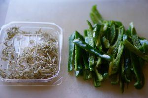 Green Pepper and Chirimenjako Stir Fry - Preparation