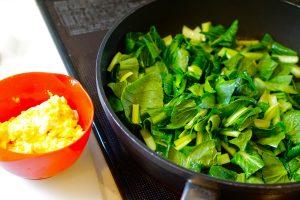 Komatsuna and Scrambled Egg Stir-Fry - Step2